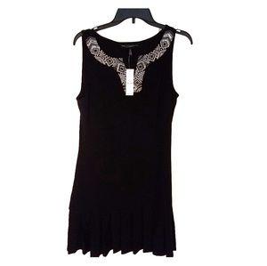 WHBM sleeveless black dress v neck beaded